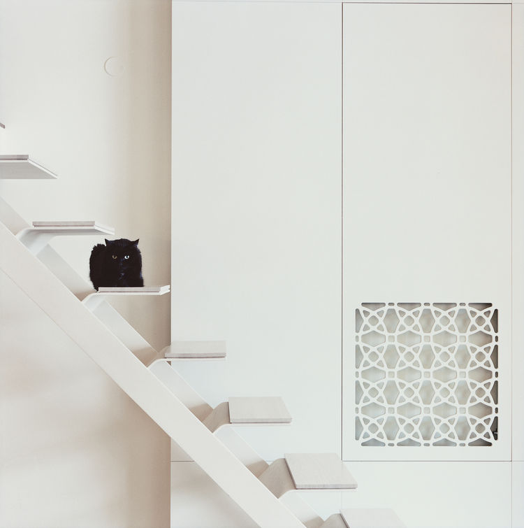Mikulionis custom designed the white steel staircase that leads from the living area up to the bedroom platform.