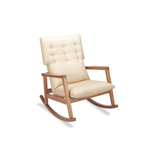 """The Risom Rocker (2009) has a nine-button tufted back; a nod toward the classic Danish modern aesthetic that can be found in all of Risom's work. Made in U.S.A. <a href=""""http://www.dwr.com/product/furniture/living/jens+risom+collection/risom-rocker.do"""">Co"""