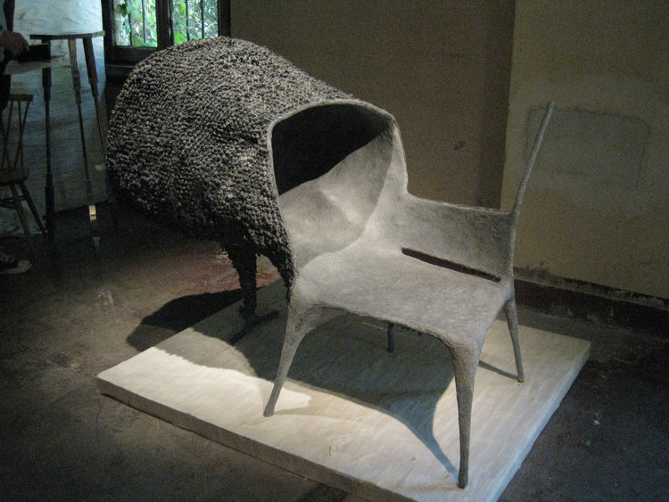 Upstairs Nacho Carbonell's collection grafted insect-like hives onto delicate modernistic forms to create a bizarre new typology of furniture—probably not for sitting in.
