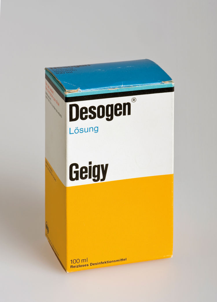 By the 60s, the packaging for all of Geigy's medications came with the identifying stripe and color blocks. Suddenly pharmacy shelves could be read as full of Geigy products from across the store. Max Schmid did the design.