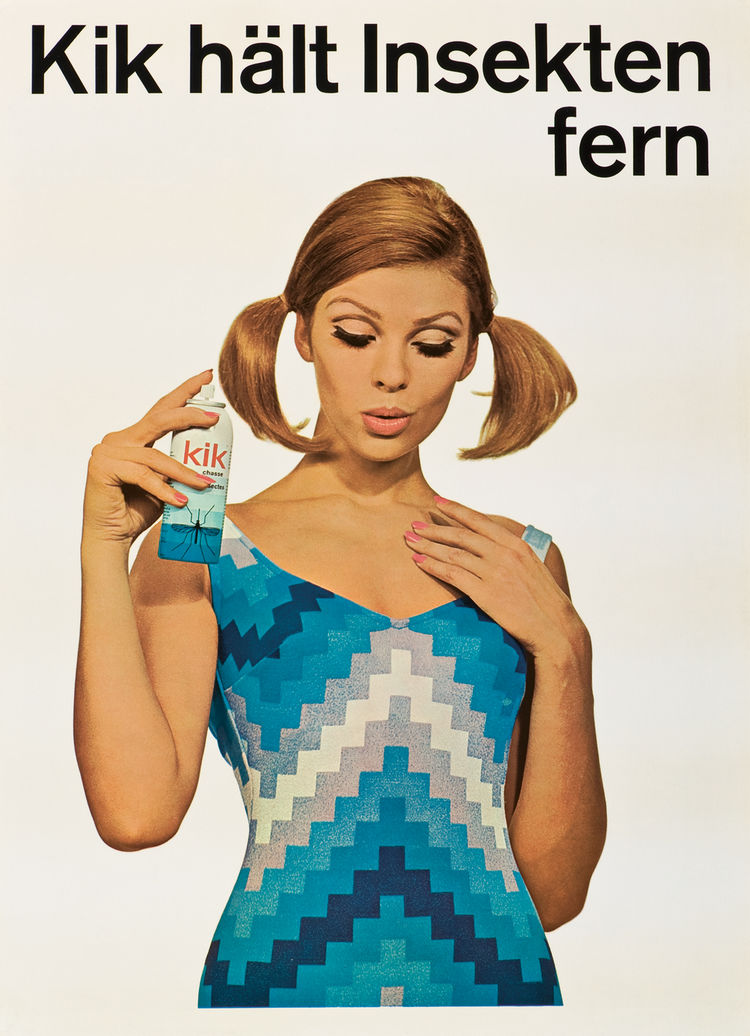 "In English this poster reads: ""Kik keeps insects at a distance."" Bug repellents such as Kik were popular Geigy products. Note the geometry of the woman's dress, a classically Swiss embrace of the grid."