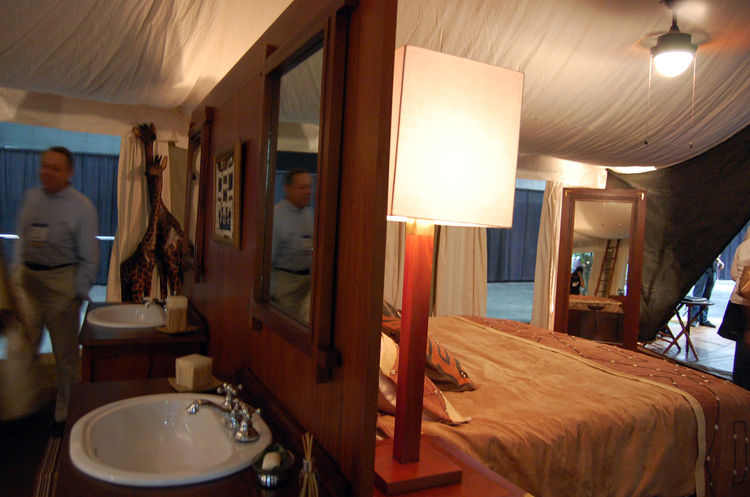 """On the floor of Dwell on Design, <a href=""""http://www.exclusivetents.com/"""">Exclusive Tents</a> showcase their Ultra Luxury African Canvas Safari Tent."""