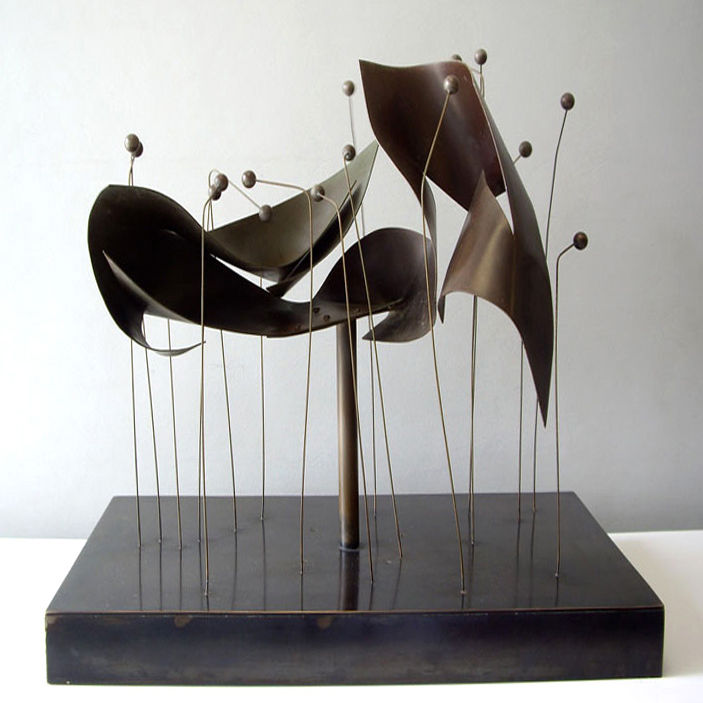 <strong>Claire Falkenstein Sculpture</strong><br /> Fat Chance dealer Jeff Schuerholz describes this kinetic copper-and-bronze sculpture by California artist Claire Falkenstein (1908–1997) as his most popular item. The piece, which dates to 1963, moves on