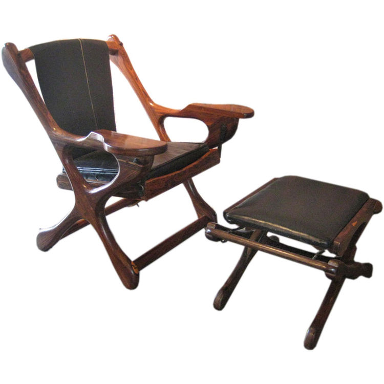 <strong>Don Shoemaker Rocking Chair and Ottoman</strong><br /> As heir to the General Foods fortune, Don Shoemaker might have been protected from joining the Army in World War II, yet he chose to serve, and even spent time as a prisoner of war. Once relea