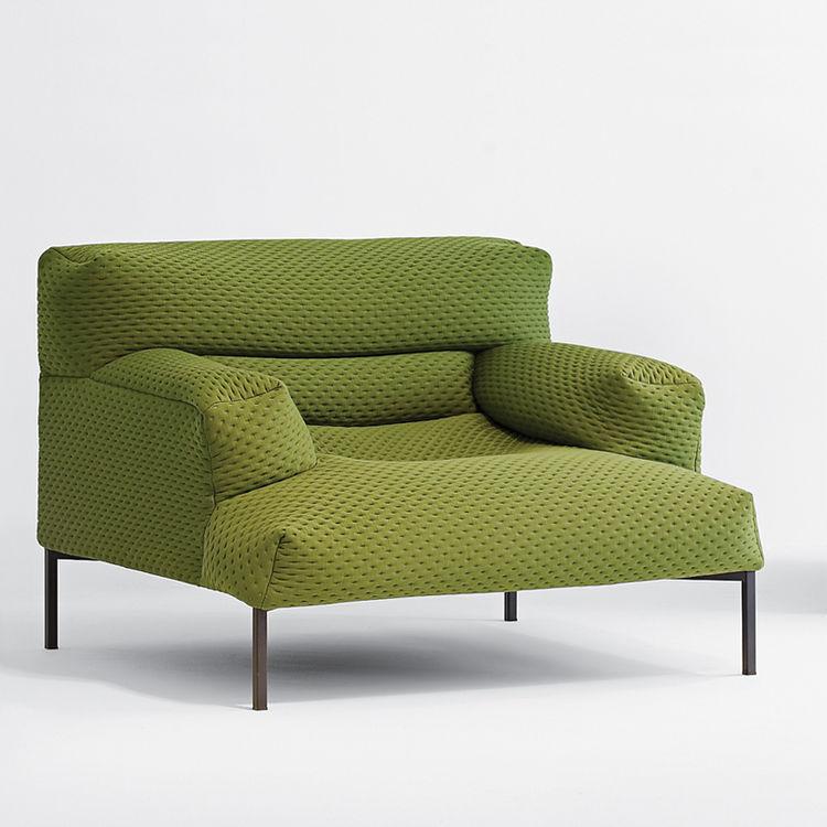 Lime green sofa.