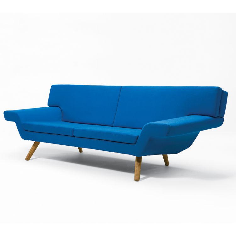 Modern blue sofa.