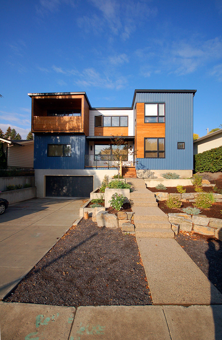 Modern custom two-story home with tuck-under garage