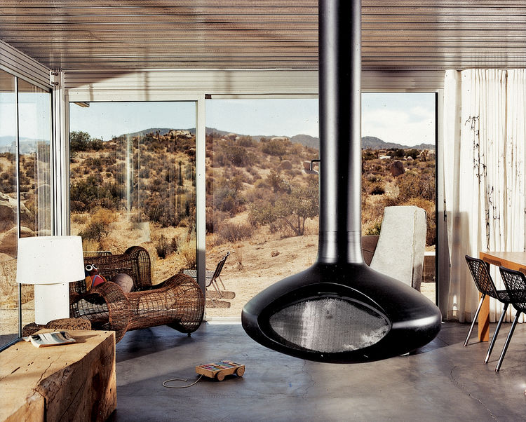 A suspended fireplace by Fire Orb