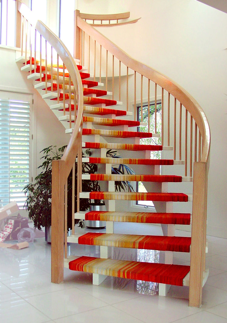 Fabric covered wooden staircase by Liora Manne