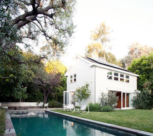 Modern pool house in Los Angeles California