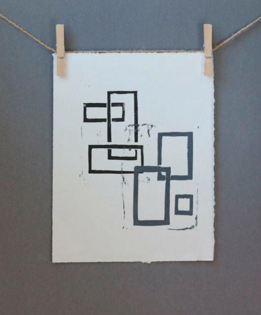 Black and Gray squares linocut Mid Century Modern