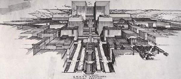 Lloyd Wright Civic Center Plan 1925