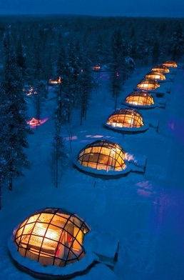 igloo hotel in Finland with glass roofs