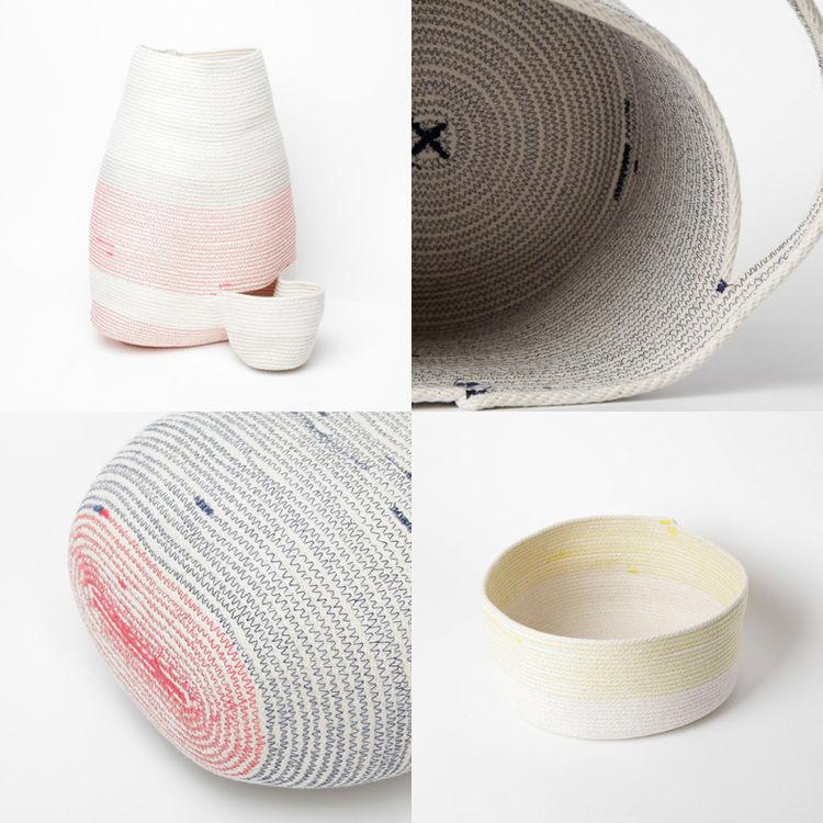 Woven cotton cord vessels by Doug Johnston