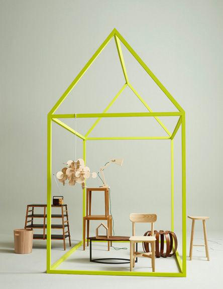 Neon green framing wooden furniture