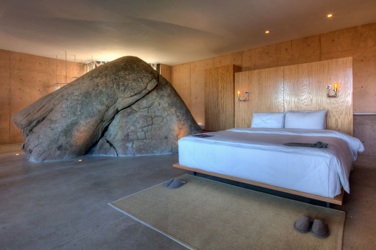 Large boulder rock in bedroom by graciastudio