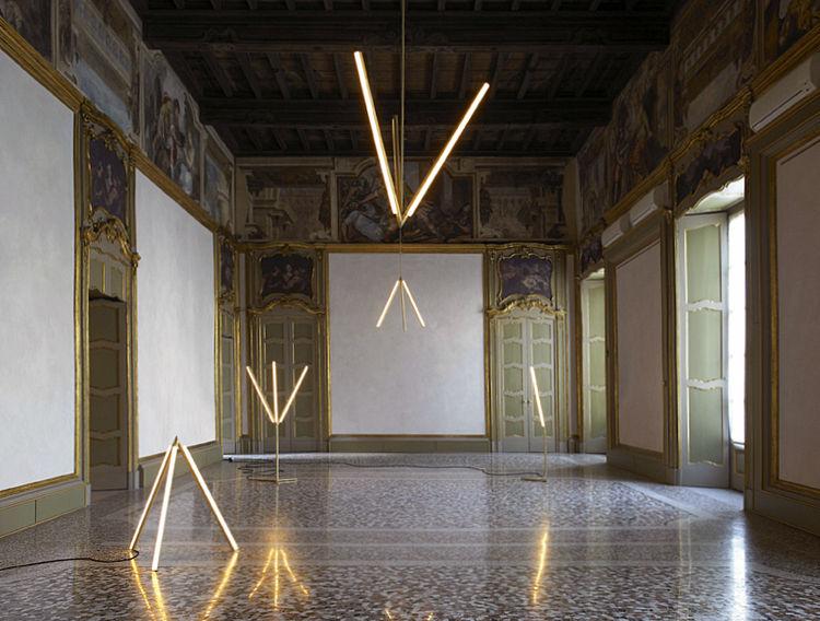 Lit Lines installation at Nilufar Gallery