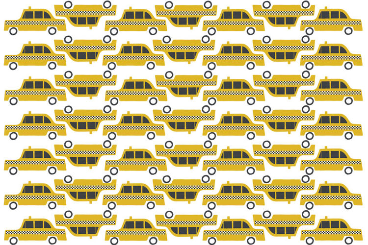 Taxi wrapping paper by Debbie Powell for Lagom Design