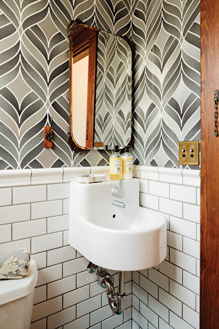 Modern powder room with Graham & Brown wallpaper