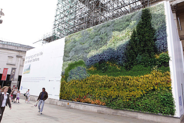 Van Gogh tribute living wall in Trafalgar Square London