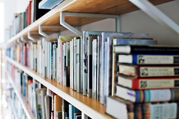 Custom designed bookshelves with brackets and Lagan blocks