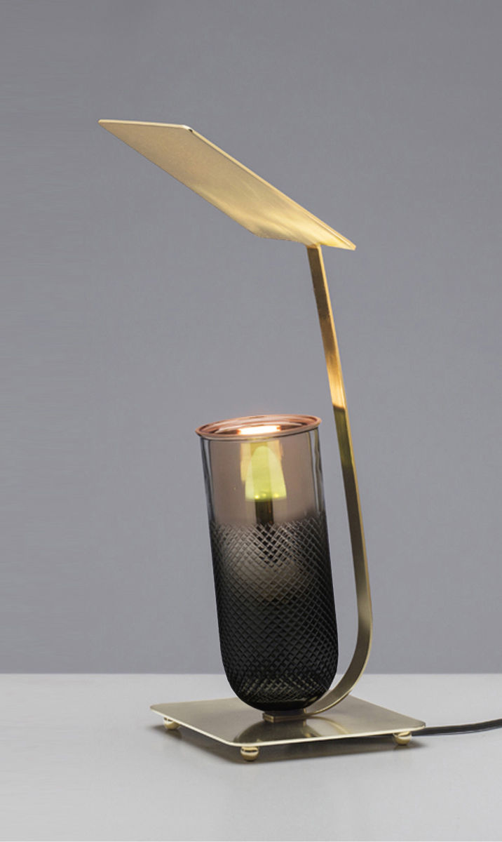 Brad Ascalon bronze lamp for Gaia & Gino shown at Wallpaper Handmade exhibition in Milan during Salone del Mobile.
