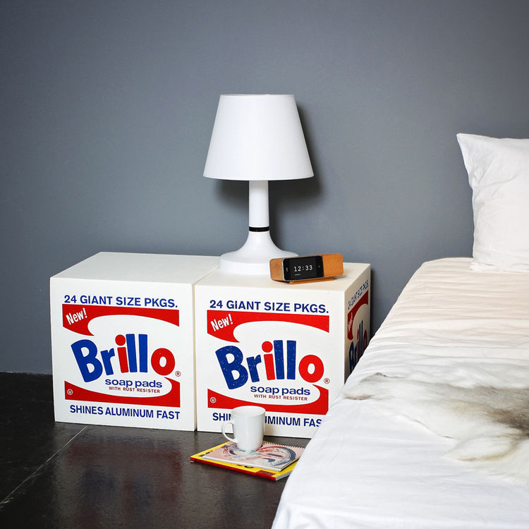Foam pouf inspired by Andy Warhol Brillo boxes from Fab.com and designers Quinze & Milan at MOST, Salone del Mobile.