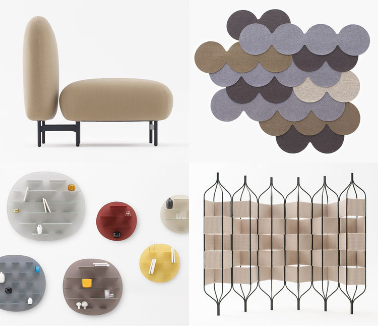 Modern armchair, rug, screen, wall shelves by Oki Sato of Nendo and Italian designer Luca Nichetto.