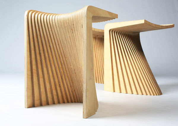 Pleat stools by Chris Hardy