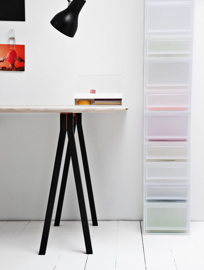 4 Dots table in ash wood with black trestle legs from Nomess Copenhagan