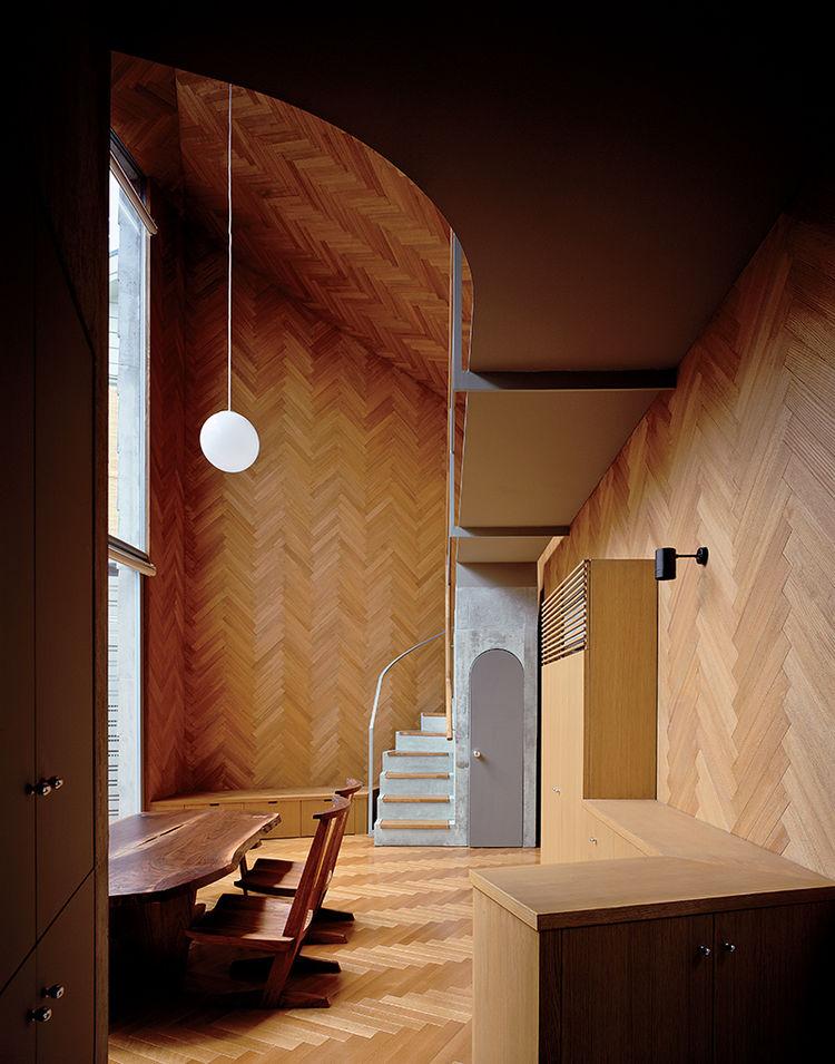oak boards in tiny tokyo home