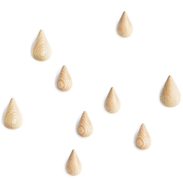 Drop shaped wall hooks.