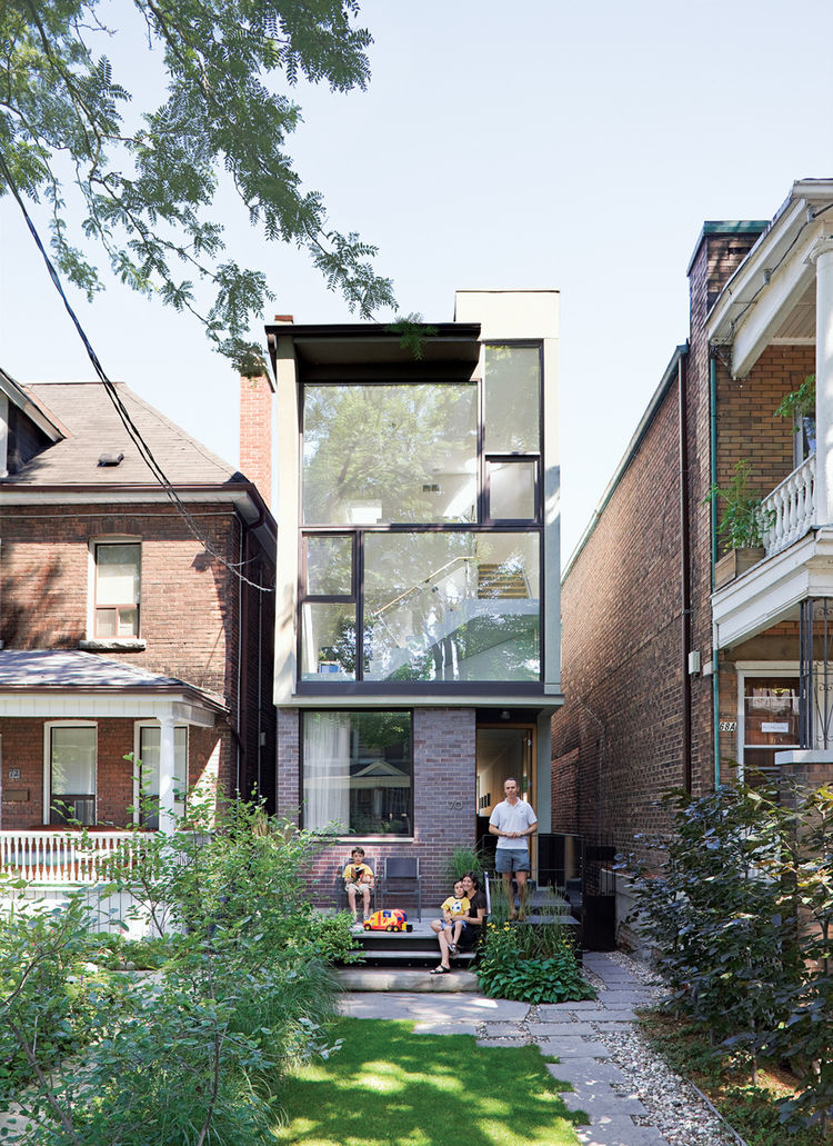 Narrow brick house in Toronto.