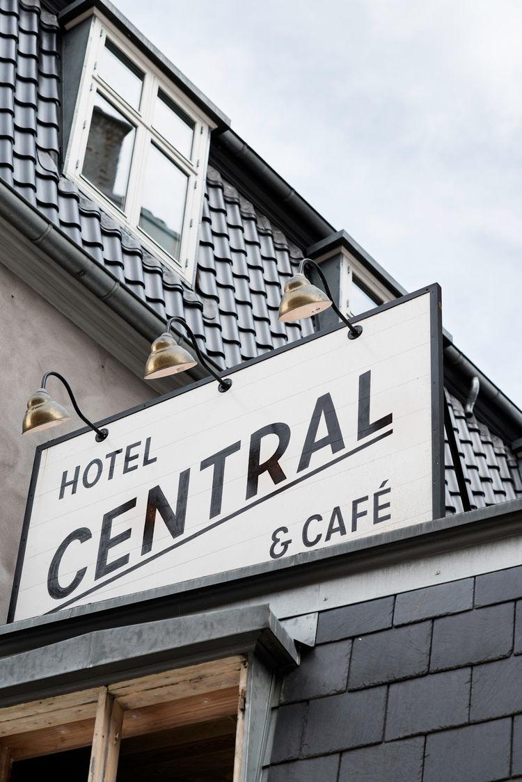 Hotel Central & Cafe in Copenhagen signage