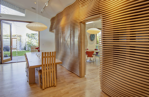 Interior wood wall room divider
