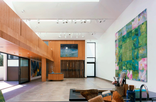 Modern artist's studio with large sliding panels