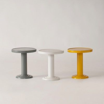 Steel end tables.