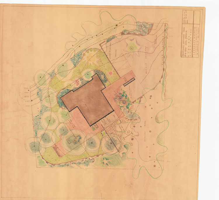 Midcentury house landscape drawing by Lawrence Halprin
