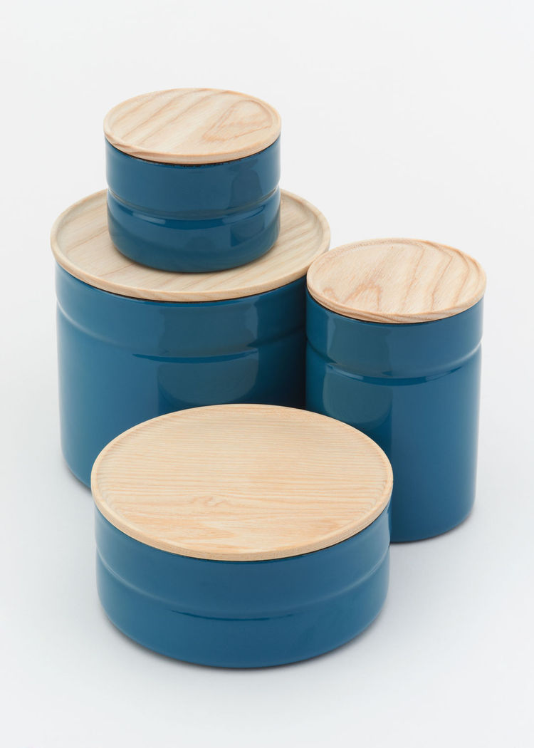 modern blue stacking storage canisters with wood lid