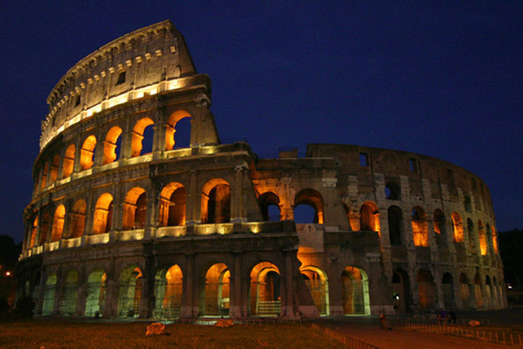 Night time view of Colosseum