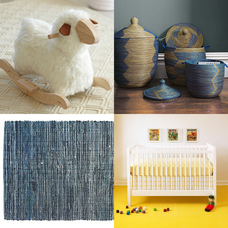 Modern furniture, textiles, and accessories for the baby's bedroom.