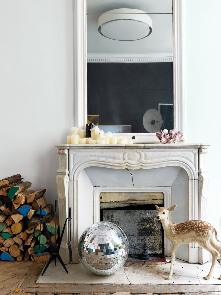 Vignette in front of fireplace.