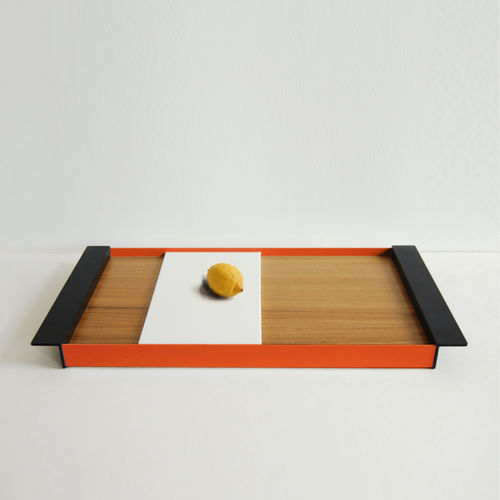 Red and black tray