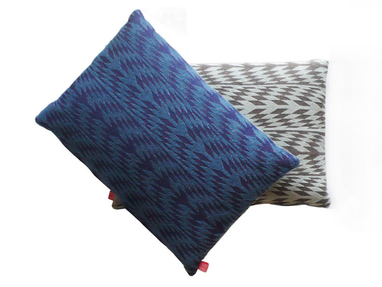 Colorful and graphic mohair and cashmere pillow designed by Mae Engelgeer