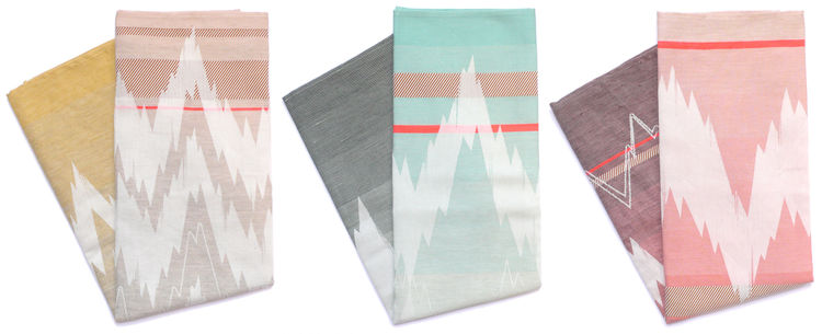 Colorful graphic tea towels by Dutch textile designer Mae Engelgeer