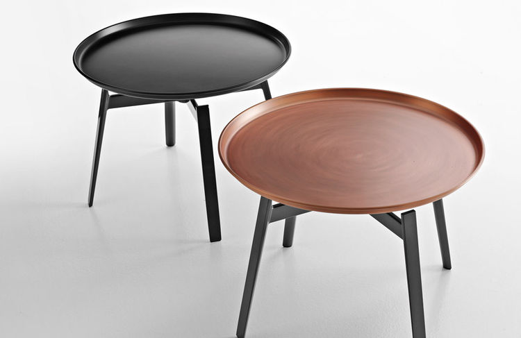 Husk table with copper top designed by Patricia Urquiola for B&B Italia in 2013