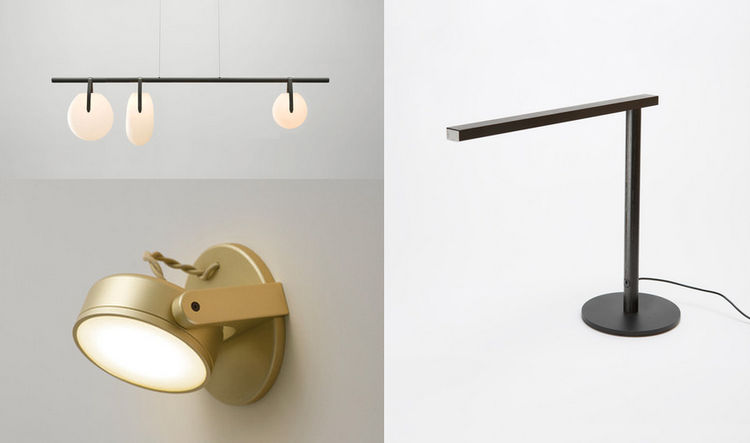 Lighting designers Rich Brilliant Willing will be showing contract goods at NeoCon including Double Channel task lamp, Gala chandelier, and Monocle sconce.