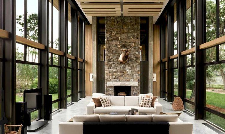 living room south carolina modern stone fireplace