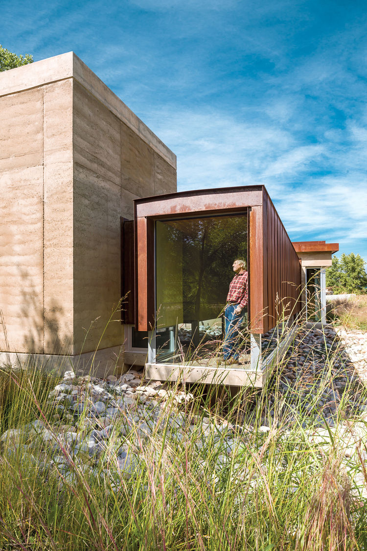 Exterior rammed earth home