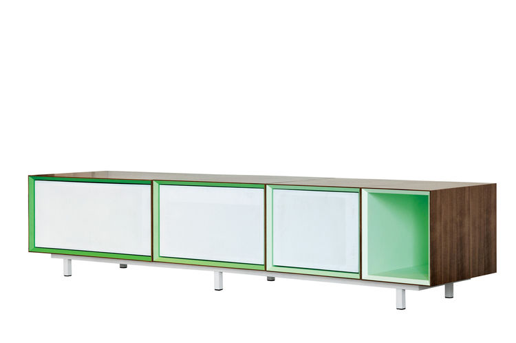 Modern media console with 4 compartments.